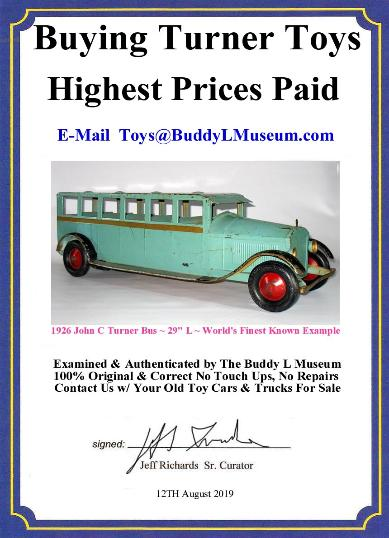 Vintage Turner Toy Bus Wanted. Paying Immediate Cash Buddy L Museum